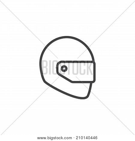Motorcycle helmet line icon, outline vector sign, linear style pictogram isolated on white. Safety symbol, logo illustration. Editable stroke