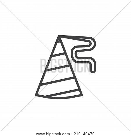 Birthday hat line icon, outline vector sign, linear style pictogram isolated on white. Party and celebrations symbol, logo illustration. Editable stroke