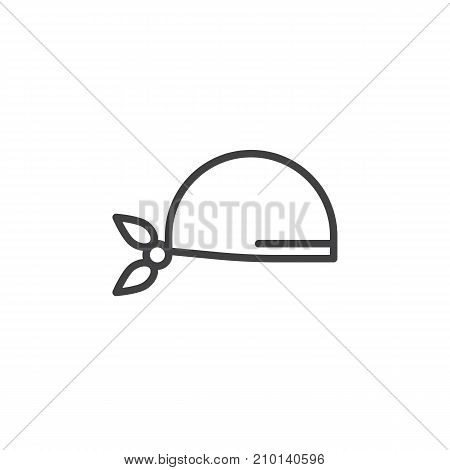 Pirate scarf line icon, outline vector sign, linear style pictogram isolated on white. Symbol, logo illustration. Editable stroke