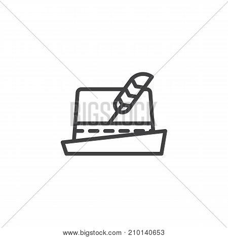German hat line icon, outline vector sign, linear style pictogram isolated on white. Oktoberfest festival symbol, logo illustration. Editable stroke
