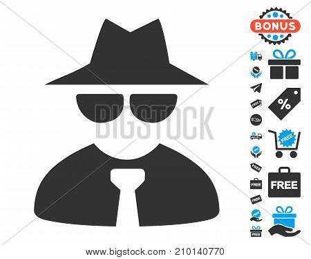 Mafia Boss pictograph with free bonus pictograms. Vector illustration style is flat iconic symbols.