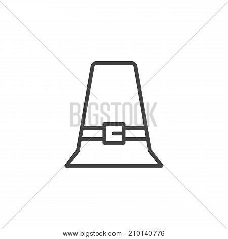 Pilgrim hat line icon, outline vector sign, linear style pictogram isolated on white. Thanksgiving day symbol, logo illustration. Editable stroke