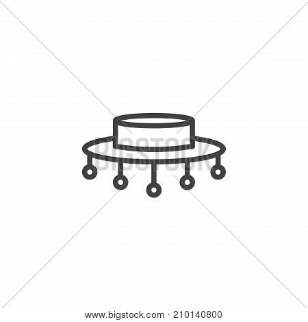 Flamenco hat line icon, outline vector sign, linear style pictogram isolated on white. Symbol, logo illustration. Editable stroke