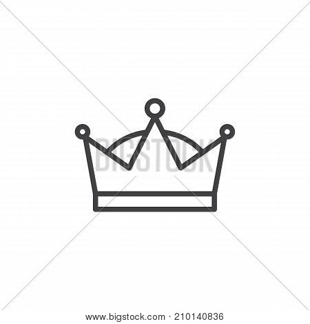 Queen crown line icon, outline vector sign, linear style pictogram isolated on white. Symbol, logo illustration. Editable stroke