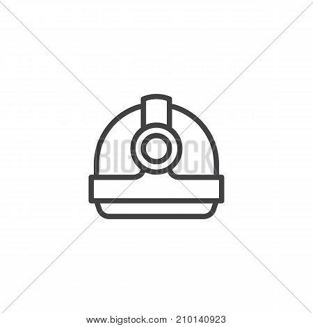 Torch helmet line icon, outline vector sign, linear style pictogram isolated on white. Symbol, logo illustration. Editable stroke