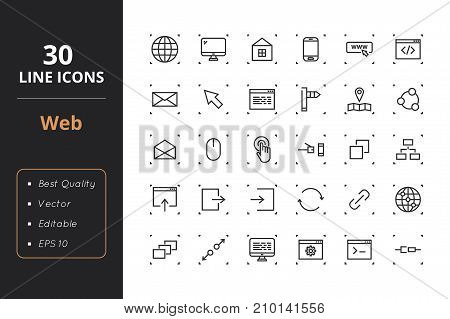 High quality web line icons. Icons for user interfaces and web