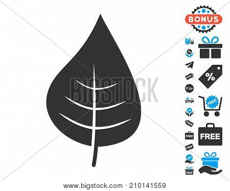 Plant Leaf pictograph with free bonus pictograms. Vector illustration style is flat iconic symbols.