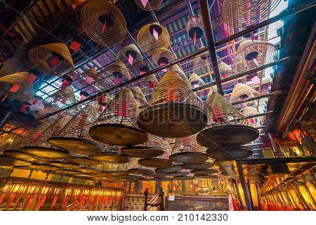 Man Mo Temple at Hong Kong . It is popular temple in Hongkong .