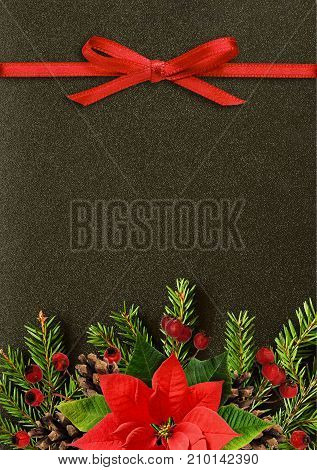 Black Christmas background with fir-tree twigs poisettia flower cones berries and red ribbon bow. Flat lay. Top view.
