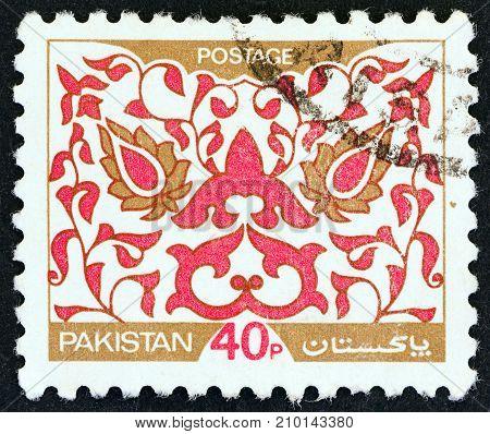 PAKISTAN - CIRCA 1980: A stamp printed in Pakistan shows Leaf Pattern, circa 1980.