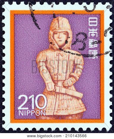 JAPAN - CIRCA 1980: A stamp printed in Japan shows Onjo Bosatsu (relief), Todai Temple, circa 1980.