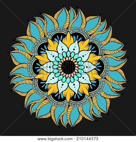 Drawing of a floral mandala in yellow blue and turquoise colors on a black background. Hand drawn tribal vector stock illustration