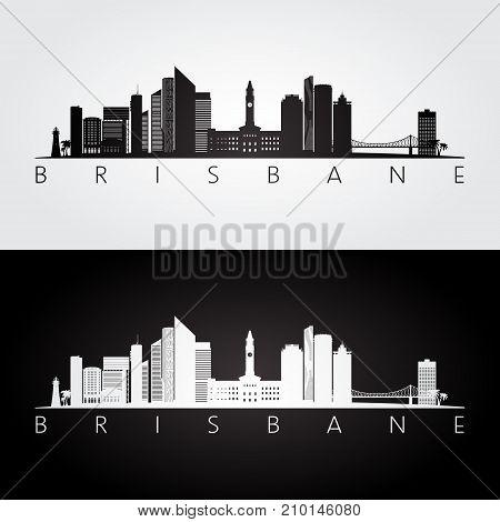 Brisbane skyline and landmarks silhouette black and white design vector illustration.