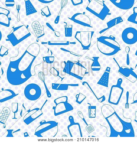 Seamless pattern on the theme of cooking and kitchen utensils simple contour iconsa blue silhouettes of icons on the background of polka dots