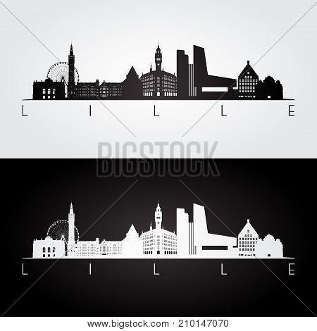 Lille skyline and landmarks silhouette black and white design vector illustration.