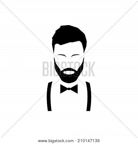 Avatar hipster with a beard in suspenders and a bow tie. Vector illustration.