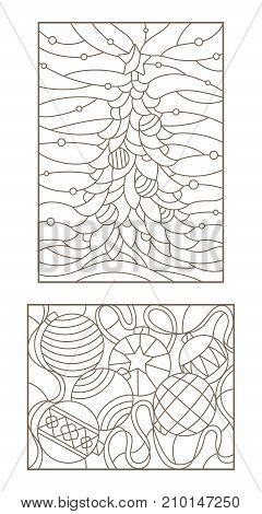 Set contour illustrations of the stained glass Windows on the theme of new year and Christmas still life with Christmas decorations and landscape with Christmas tree dark outline on a light background