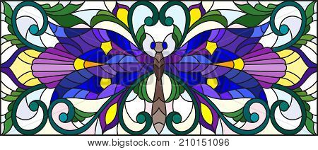Illustration in stained glass style with bright dragonfly and floral ornament on a light background