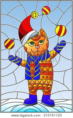 Illustration in stained glass style with funny cat in Santa hat juggling Christmas decorations on a background of snow and sky