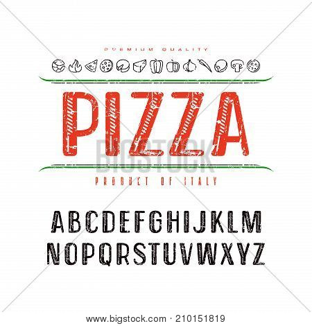 Decorative font and pizza box cover. Letters with rough texture for logo and title design. Color print on white background