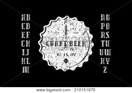 Decorative serif stencil-plate font and craft beer label. Letters with rough texture for logo and title design