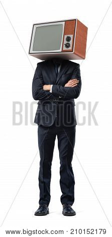 A businessman stands with arms folded and a retro TV box instead of his head isolated on a white background. Old business technologies. Time for improvement. Game changer.