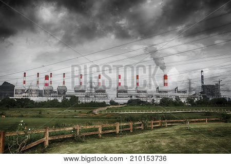 Sulfer Smoke Cloud Of Pollution From Coal Power Plant Air Environmental Destruction