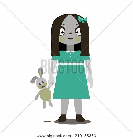 Vector flat illustration. Cute Zombie-girl. Halloween. Zombie toy.