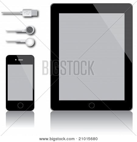 Touchscreen gadgets with USB-cable and headphones