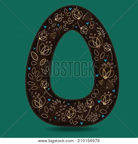 The Letter O with Golden Floral Decor. Dark brown symbol. Yellow flowers and plants with metallic blazing effect. Blue small hearts. Illustration