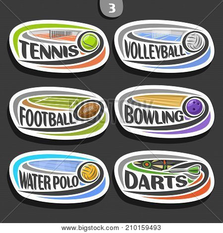 Vector set of sport logo, 6 oval simple badges with flying ball on curved trajectory, sports signs of minimal design with games equipment, original typography for words of different kind of sport.