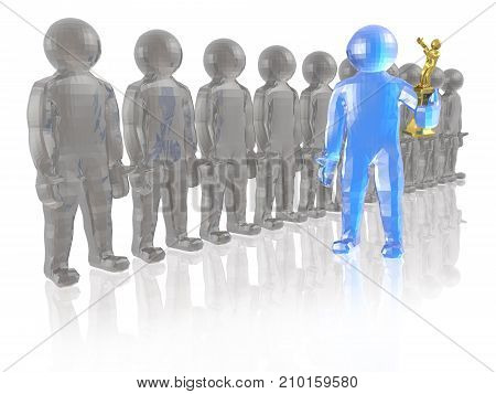 Blue and grey mans on white reflective background 3D illustration.