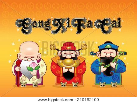 3 cute Chinese gods which representing long life, wealthy and career. Gong Xi Fa Cai.