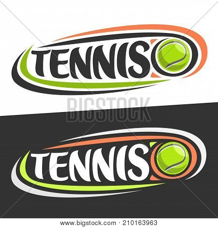 Vector logo for Tennis sport, flying on trajectory green ball and handwritten word - tennis on black background, curved lines around original font for text - tennis on white, sports drawn decoration.