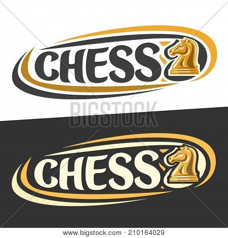Vector logo for Chess game, figure of yellow knight and handwritten word - chess on black, curved lines around original typography for text - chess on white background, sports drawn decoration.