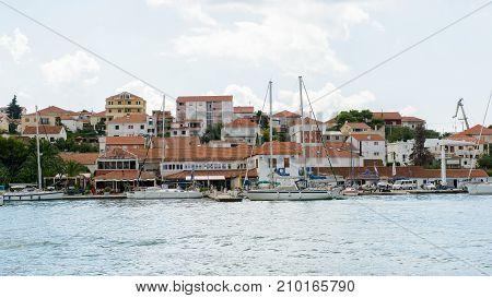 DALMATIA REGION OF SPLIT CROATIA - AUG 20 2014: Architecture of Dalmatia the Adriatic coast. Coast of the Adriatic Sea in Dalmatia became a popular destination for millions of tourists