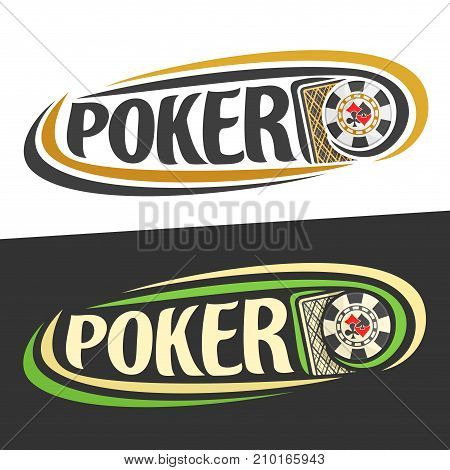 Vector logo for Poker gamble, back of playing card and handwritten word - poker on black, curved lines around casino chip with suits, original font for text - poker on white, gambling drawn decoration