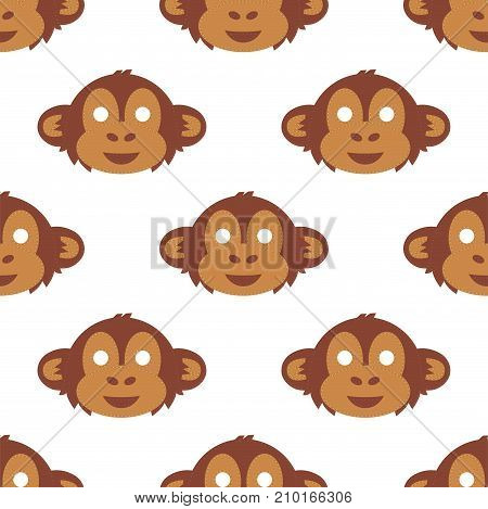 Cartoon animal monkey party masks vector holiday illustration party fun seamless pattern background. Celebration character head masquerade festival decoration.