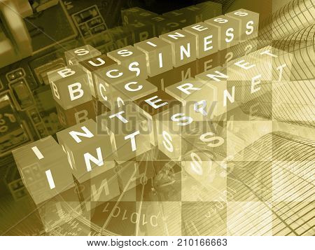 Cubes with letters - abstract business background in sepia.