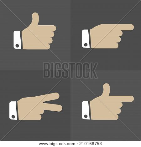 Simple Hand expression icons set for your great designs