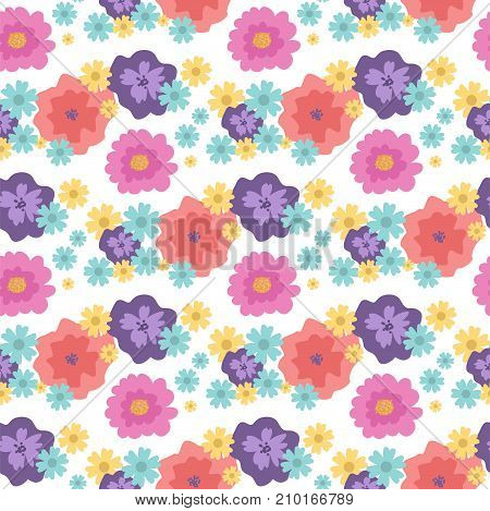 Nature flowers foliage seamless pattern flat style. Greeting holidays card vector. Silhouette green nature green flora decoration bouquet background.