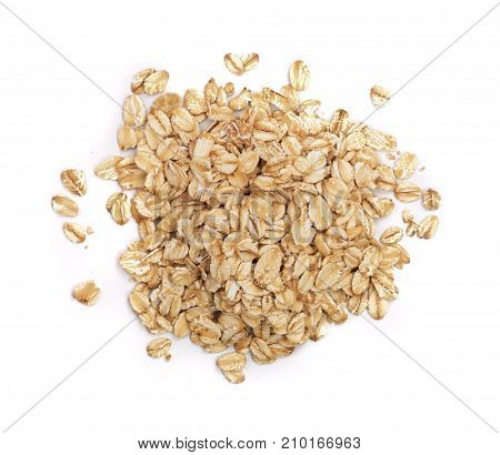 oat flakes isolated on white background. Top view.