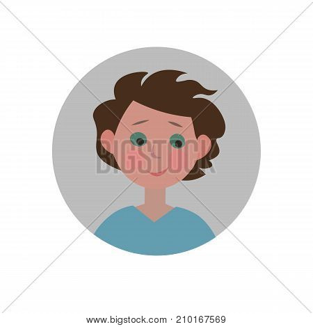 Guilty emoticon. Sorry expression icon. Isolated vector illustration.