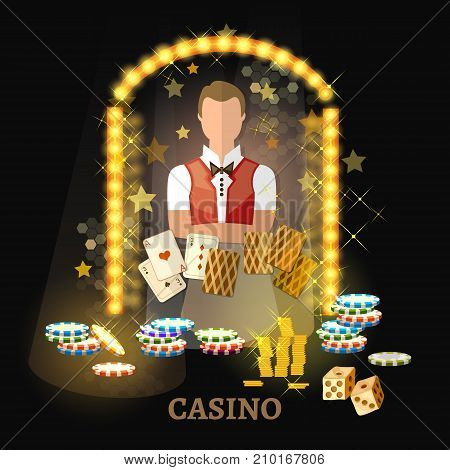 Welcome to the casino vector. Casino set poker game cards slots.
