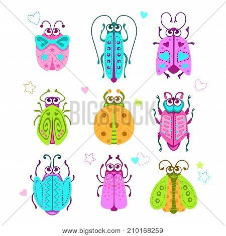 Cute cartoon bugs set. Vector decorative incect icons on white background.
