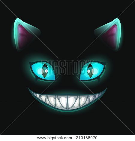 Fantasy scary smiling cat face on black background. Cheshire Cat vector illustration