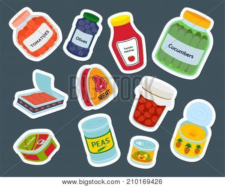 Collection of various tins canned goods food metal container grocery store and product storage aluminum flat label conserve vector illustration. Meal steel cylinder nutrition.