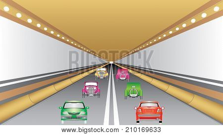 Cars in tunnel. Cars in the tunnel trajectory. Cars moving through the road tunnel. Car driving fast in road tunnel.