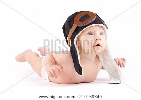 Cutie Little Boy In White Diaper And Pilot Hat