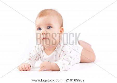 Cute Pretty Little Girl In White Pijamas